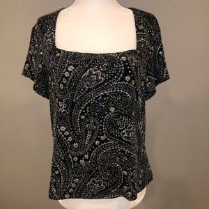 Vintage Ronni Nicole Black Sparkle Cropped Top LG